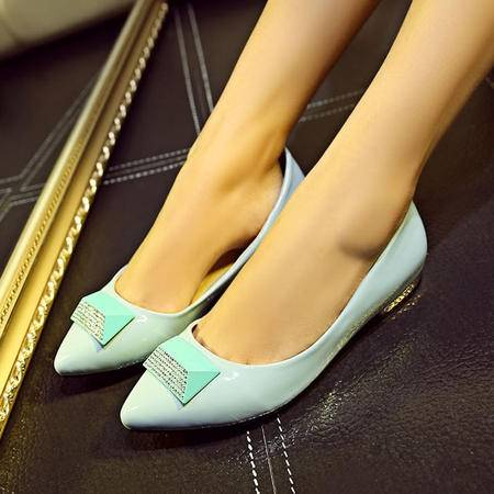 2015秋季新款尖头平底单鞋女平跟水钻浅口女鞋