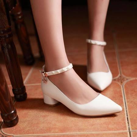 2015秋季新款尖头粗跟单鞋女中跟水钻甜美扣带女鞋