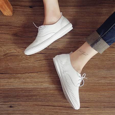 真皮2015夏季新款英伦平底单鞋女系带小白鞋女鞋