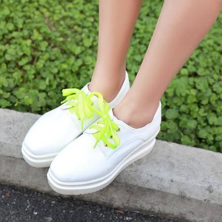 2015秋季新款厚底中跟方头女单鞋中跟坡跟松糕鞋女鞋