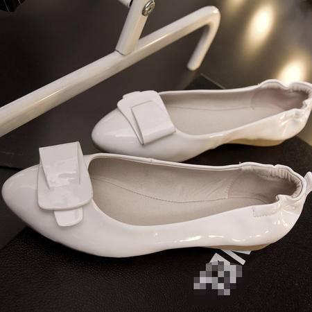 2015秋季新款尖头平底单鞋女韩版漆皮蛋卷鞋