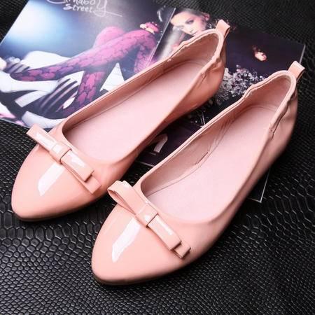 2015秋季新款漆皮尖头女单鞋平底舒适蛋卷女鞋