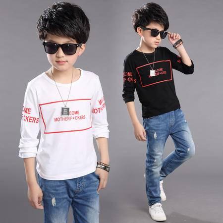 童装2016秋装新款 中大童儿童长袖T恤圆领韩版男童打底衫