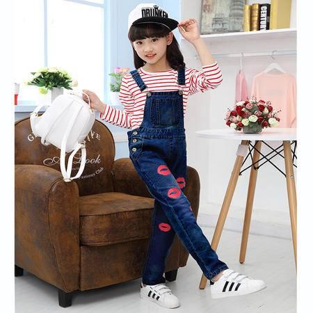 女童秋装2016新款童装女大童牛仔背带裤+T恤儿童套装潮