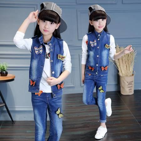 外贸童套装 2016春秋新款韩版无袖马甲长裤中大童两件套
