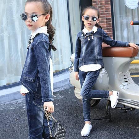 童套装秋季新品女童宝宝牛仔三件套外贸