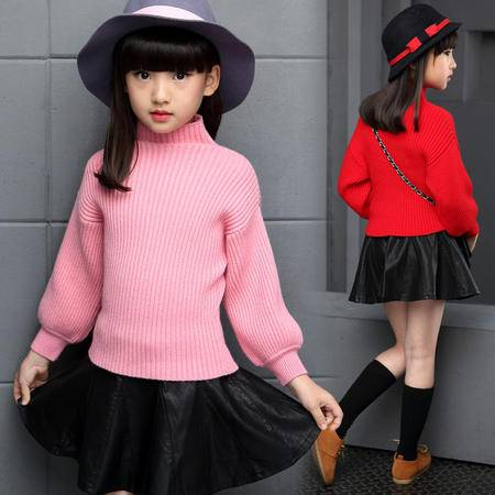 2016春秋款童装 针织女童毛衣高领韩版儿童套头针织衫