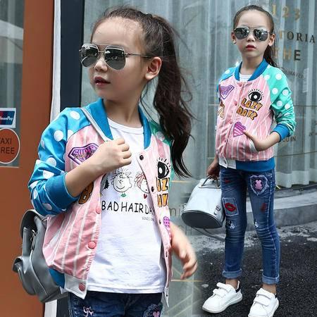 女童秋装外套韩国秋款童装2016新款儿童棒球服 女童宝宝运动上衣