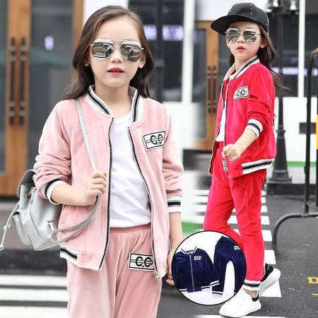 女童秋冬装套装童装2016 韩版中大童银狐绒运动两件套
