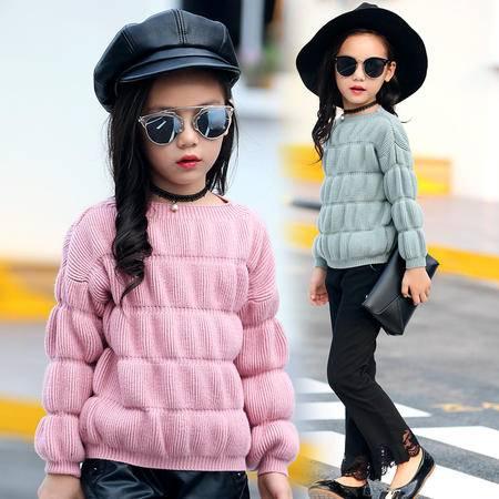 女童毛衣 2016秋冬韩版套头中大童针织打底衫加厚圆领儿童毛衣