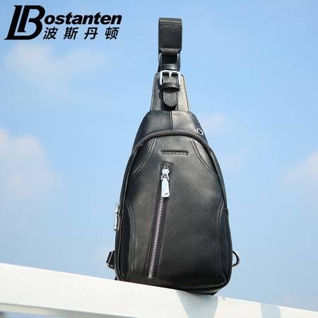 波斯丹顿真皮胸包男 韩版休闲牛皮斜挎男包运动多功能收纳小背包B5152061