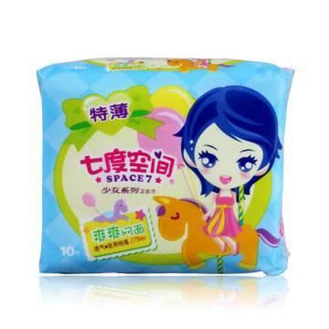 七度空间少女系列特薄表层网面日用卫生巾10片/包