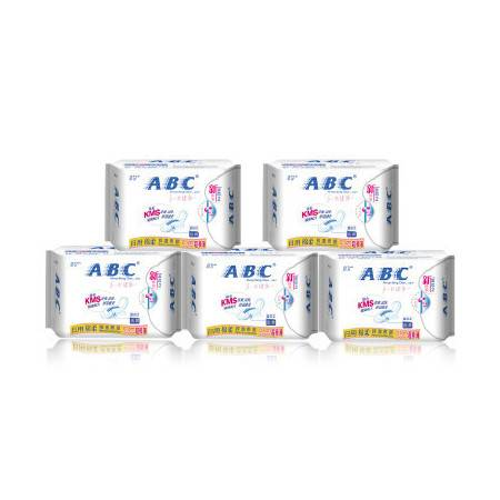 ABC 日用超极薄棉柔排湿表层卫生巾(含KMS健康配方)K13 5包组合