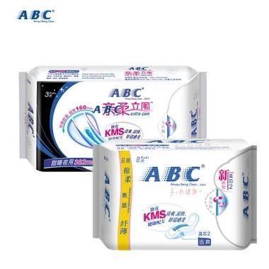 ABC 日用棉柔表层纤薄卫生巾8片装+亲柔立围超级薄甜睡夜用3片装