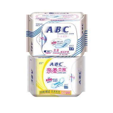 ABC 纤薄纯棉卫生巾组合2包