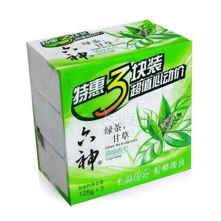 六神香皂清凉香皂三块装(绿茶+甘草)125g*3 清洁除菌