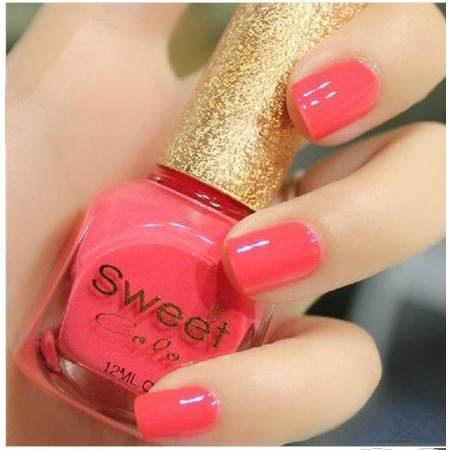 满百包邮 sweet color环保指甲油 甜美挑眼荧光粉红色S202 12ml