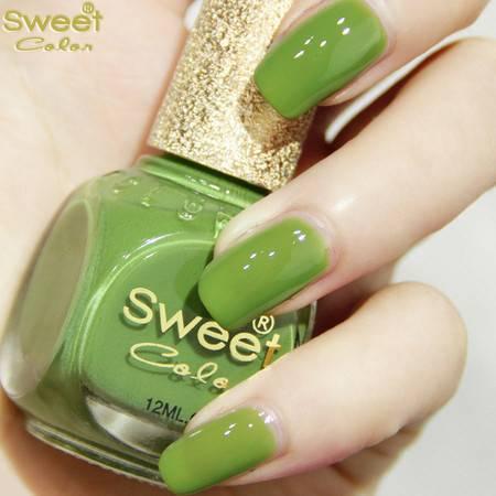 满百包邮 Sweet Color环保指甲油 漆光实色绿色S232 青绿草原 12ML