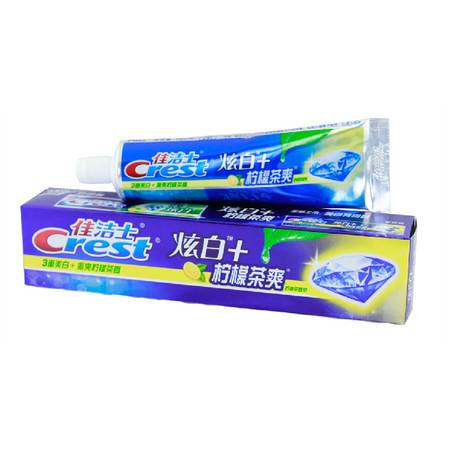 佳洁士 Crest佳洁士炫白+柠檬茶爽/沁醒冰橙牙膏120g 美白牙齿