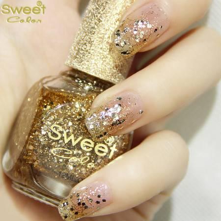 Sweet Color环保指甲油 金色大亮片系列 璀璨裸金S243 12ML