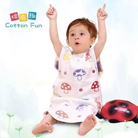棉有趣六层纱布蘑菇宝宝睡袋M码(42*70cm)薄款背心小孩婴儿童防踢被无袖夏春秋冬