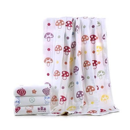 新生婴儿童浴巾抱被宝宝纯棉六层纱布盖被110*110cm蘑菇被子童被毛巾被盖毯
