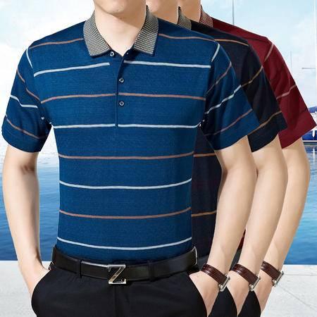 包邮 爸爸装2016中年品牌男装男士夏季短袖条纹T恤男装中老年装