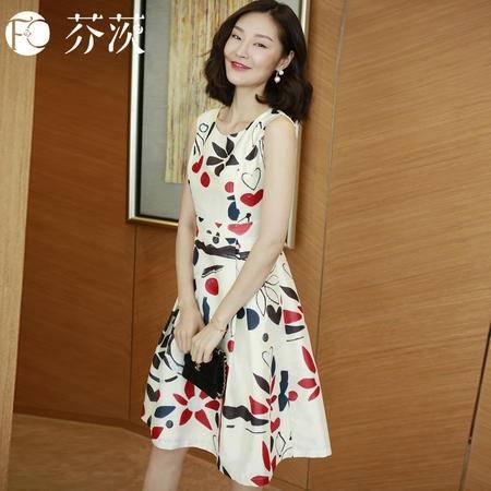 包邮 2016夏季新款时尚复古印花女裙修身显瘦高腰裙子气质中长款连衣裙