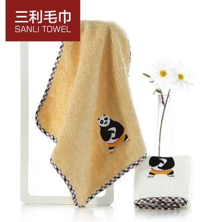 三利功夫熊猫方巾 4条装 卡通可爱全棉童巾柔软吸水儿童洗脸小毛巾GF201