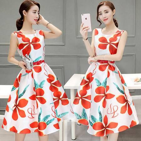 瑶行服饰 夏装新款女装韩版印花中长款无袖连衣裙时尚修身A字裙
