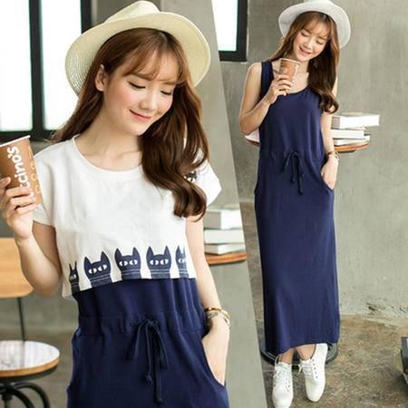 瑶行服饰 韩版新款气质显瘦夏季印花中长短袖沙滩度假连衣裙两件套装女