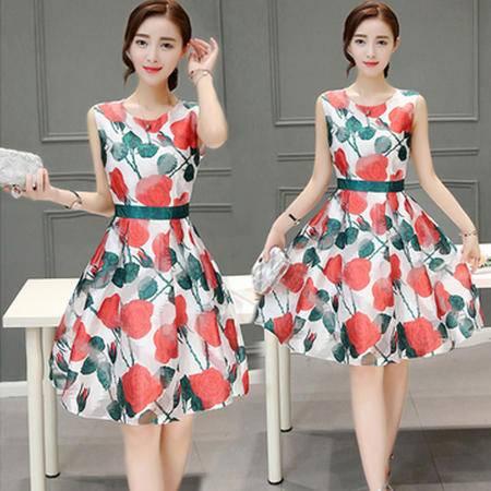 瑶行服饰 夏季新款女装圆领无袖高腰印花显瘦大摆型连衣裙中长款气质裙