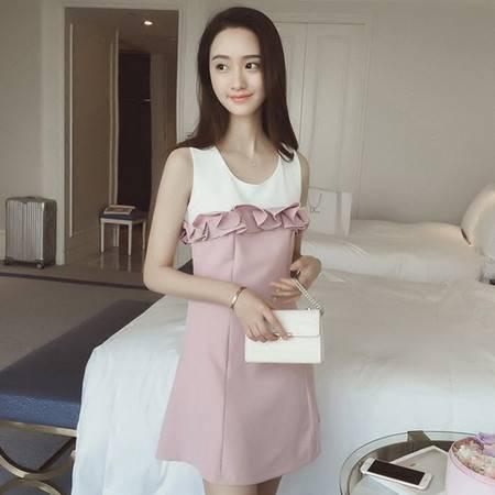 瑶行服饰 夏装新款韩版时尚女装修身显瘦百搭花边拼色无袖连衣裙短裙