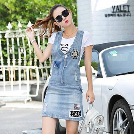 瑶行服饰 夏装新款牛仔背带裙 韩版女装背带裙时尚修身半身裙
