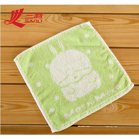 三利毛巾销 23*23朦朦兔方巾 M2000 婴童专用方巾 纯棉大白兔方巾