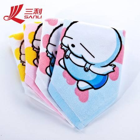 三利毛巾23*23 桃心小方巾 割绒印花小方巾 M2002 纯棉婴童方巾