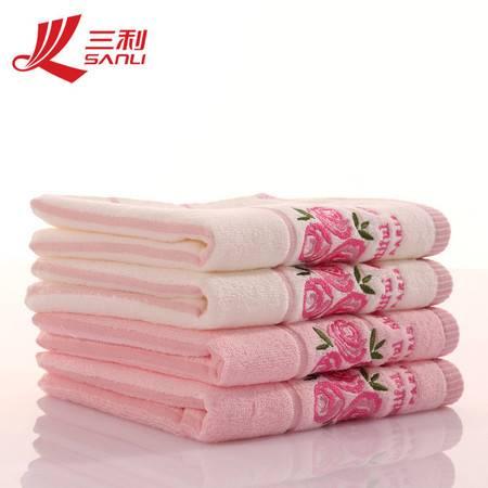 三利毛巾34*34 玫瑰香味套巾 c203 超柔软婴儿方巾 百分百纯棉方巾