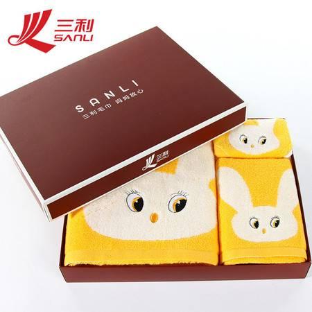 三利毛巾 卡通美丽兔子浴巾+面巾+方巾礼盒装 货号 8078t 批发