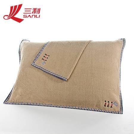 三利纯棉加厚柔软纱布枕巾加大加厚对枕巾78*52对枕 货号 4312-1