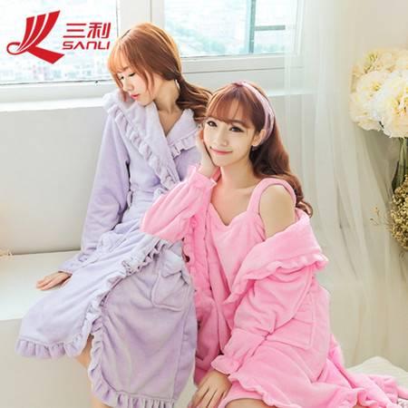 包邮 三利新款浴袍女 春夏睡袍睡衣加长新品 女士夏季系带家居服  货号 YY-11