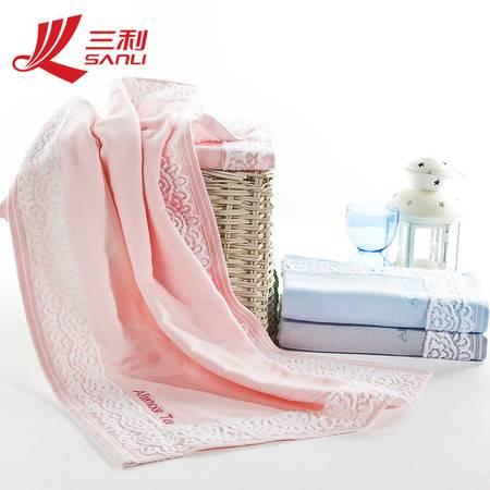 三利毛巾 优美蕾丝边多色可选 纯棉花田梦枕巾53*75(一对)货号 4116-1