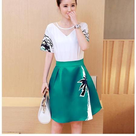 瑶行服饰 夏季新款连衣裙女韩版上衣时尚印花A字裙两件套套装