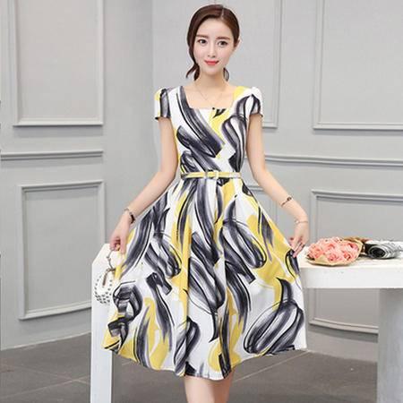 瑶行服饰 新款女装夏装韩版修身高腰中长款连衣裙女亚麻短袖方领收腰裙