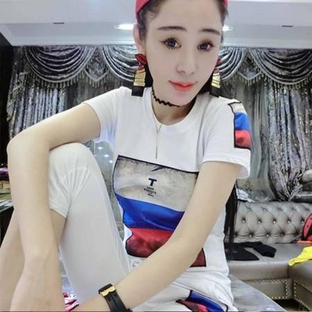 瑶行服饰 新款韩版棉质白色短袖T恤女装夏季修身上衣潮