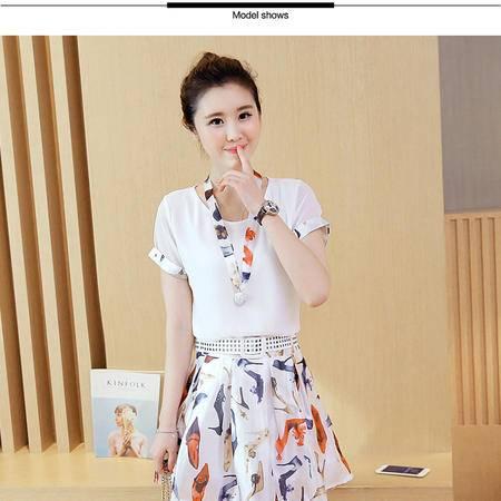 瑶行服饰 夏季韩版新款印花连衣裙女时尚两件套装裙