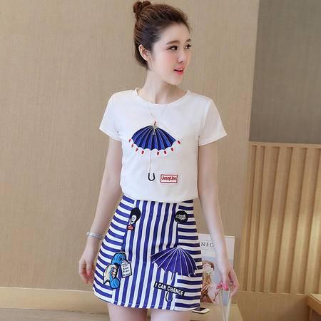瑶行服饰 夏季新款套装裙韩版修身刺绣短袖T恤+条纹包臀A字裙两件套潮