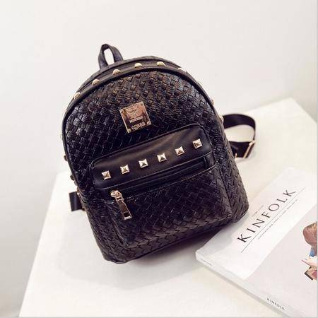 包邮 2016新款韩版女包时尚铆钉编织双肩包旅行包迷你零钱包
