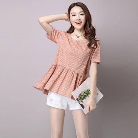 瑶行服饰 甜美韩版宽松棉麻女装大码棉麻t恤女式短袖上衣夏装新品新款