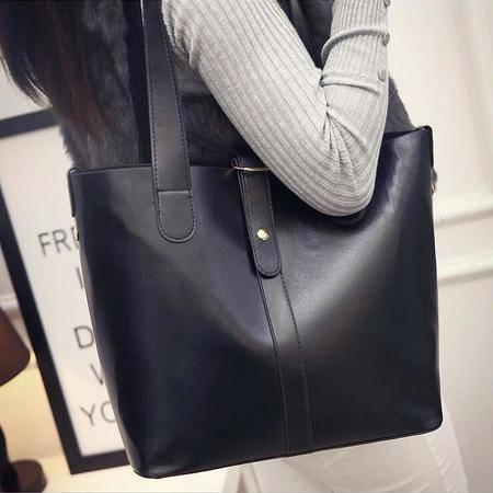 包邮 瑶行 新款皮带装饰牛皮单肩手提包大包时尚女士包包