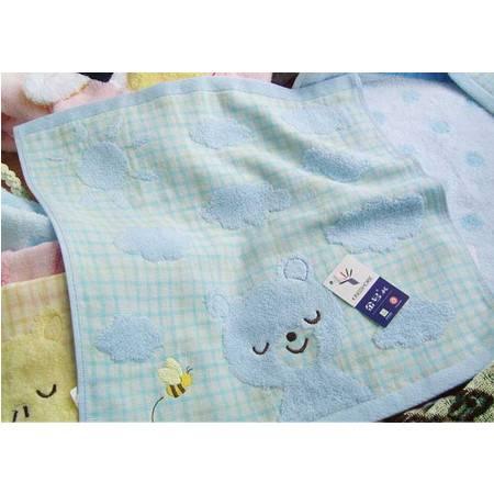 金号毛巾方巾 纯棉无捻提缎双层小兔 童巾方巾G6572WH
